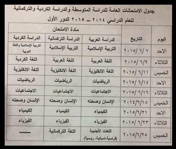 جدول الثالث المتوسط 2015
