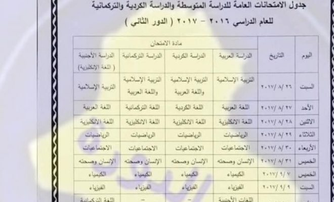 جدول الثالث المتوسط الدور الثاني 2017