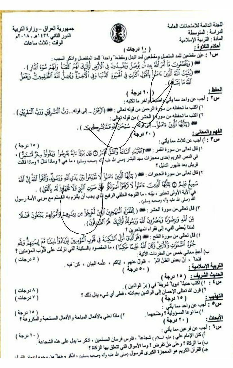 اسئلة الثالث المتوسط الدور الثاني 2018 مادة الاسلامية